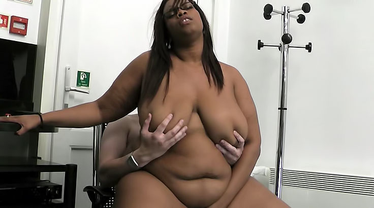Black BBW fucks employee